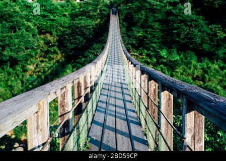 Pont suspendu au-dessus de la cascade de Harajiri à Oita, au Japon. Banque D'Images