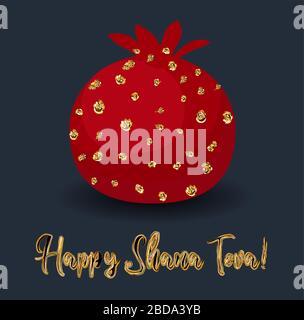 Carte de vœux Rosh hashana avec illustration grenade abstraite. Carte de vœux juive moderne du nouvel an dans des couleurs tendance. Banque D'Images
