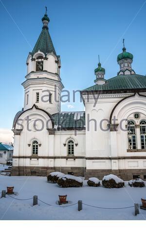 Église orthodoxe russe à Hakodate, un jour d'hiver. Sur l'île d'Hokkaido dans le nord du Japon. Banque D'Images