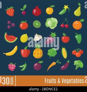 Icônes plates dans les fruits et légumes icônes d'infographie définies.