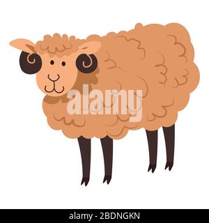 Joli mouton ou agneau, pur animal domestique vecteur Banque D'Images