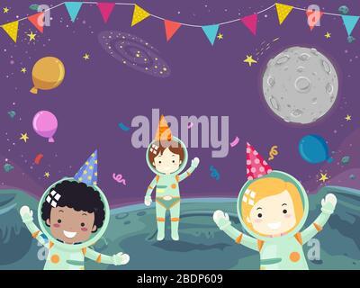 Illustration de l'astronaute enfants ayant une fête dans l'espace avec des ballons, des confettis, des chapeaux et des boutures Banque D'Images