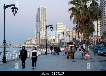 Corniche, Beyrouth Banque D'Images