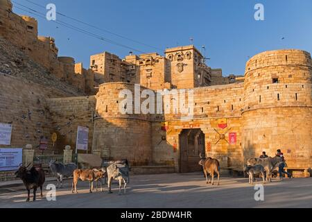 Akhai Pol entrée principale de la première porte Jaisalmer fort Rajasthan Inde