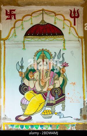 Ganesh Mural Mandir Palace Jaisalmer Rajasthan Inde