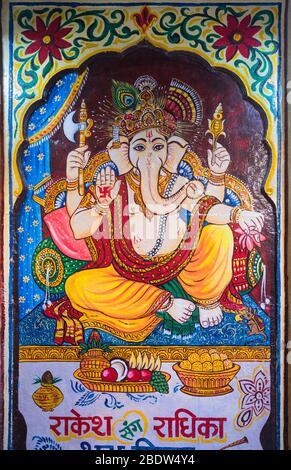 Ganesh murale Baa Ri Haveli Jaisalmer fort Rajasthan Inde