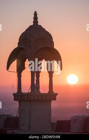 Vue sur le lever du soleil depuis Jaisalmer fort Rajasthan Inde