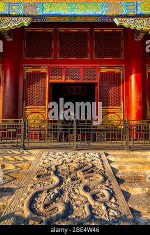Détail coloré de la Cité interdite au coucher du soleil, Beijing, Xicheng, République populaire de Chine, Asie