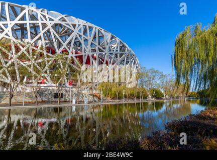 """Vue sur le Stade National """"Bird's Nest"""" Olympic Green, Beijing, Xicheng, République populaire de Chine, Asie Banque D'Images"""