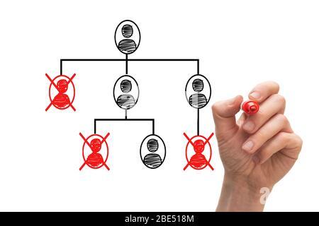 Concept de tableau blanc montrant l'organigramme et les redondances. Banque D'Images