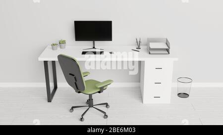 Bureau avec un ordinateur, des papiers, des stylos et des plantes de cactus. Concept de bureau à domicile. Rendu 3D.