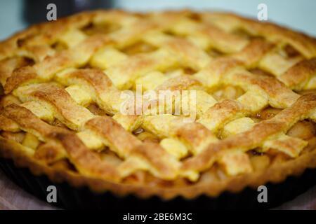 Close-up d'une tarte aux pommes Banque D'Images