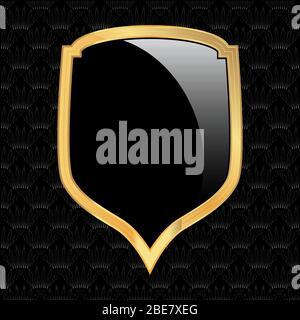 Logo de l'emblème graphique du badge de protection de sécurité noir et or vectoriel rétro - signe de protection et de sécurité, icône de protection,