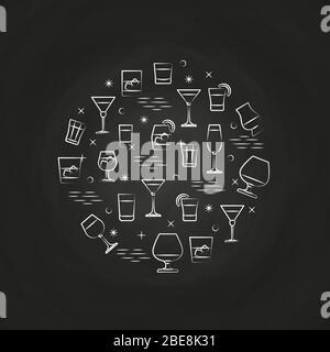Boissons alcoolisées icônes sur le tableau de surveillance - boissons cercle concept. Illustration vectorielle
