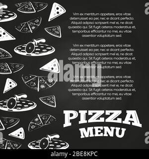 Affiche de menu de pizza à base de tableau de surveillance - motif de bannière de restauration rapide. Illustration vectorielle