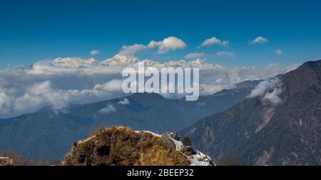 Chaîne de montagnes de Kanchenjunga, du point de vue de Lungthung, Zuluk, Copy Space