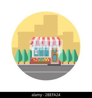 Concept de paysage urbain avec silhouette du centre-ville et magasin de nourriture mignonne. Illustration vectorielle