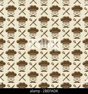 Motif sans couture chef - cuisine texture sans couture arrière-plan. Illustration vectorielle Banque D'Images