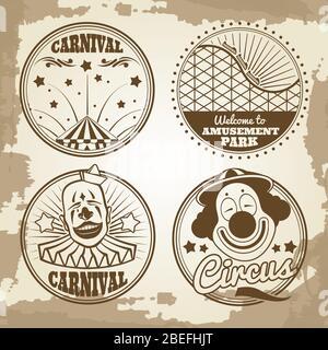 Parc d'attractions cirque des emblèmes du carnaval sur fond vintage. Illustration vectorielle