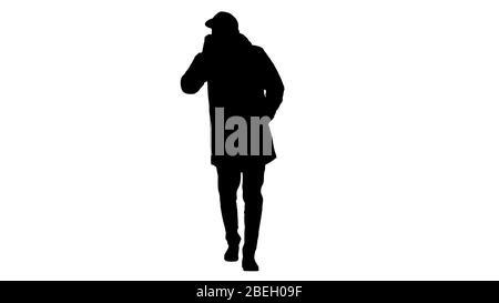 Silhouette décontracté homme dans des vêtements de plein air et masque médical walkin Banque D'Images