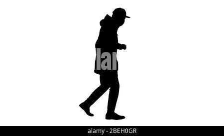 Silhouette Jeune homme en vêtements de plein air et masque médical jogging Banque D'Images