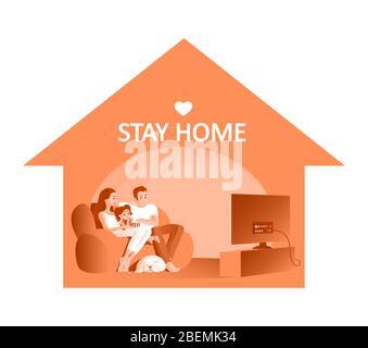 Une jeune famille avec un enfant se repose sur le canapé devant le téléviseur pendant la quarantaine. Un chien dormait à proximité. SMS pour rester à la maison. Vecteur Banque D'Images