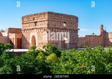 Ruines au Palais El Badi de Marrakech Maroc Banque D'Images