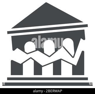 concept de rupture financière, icône de banque brisée sur fond blanc, style silhouette, illustration vectorielle Banque D'Images
