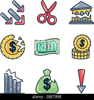 l'icône argent et argent cassé est définie sur fond blanc, style de couleur de ligne, illustration vectorielle Banque D'Images