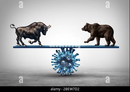 Les entreprises voient la maladie et l'épidémie de pandémie économique et le virus boursier peur ou bull et l'économie d'ours sur un concept de scie. Banque D'Images