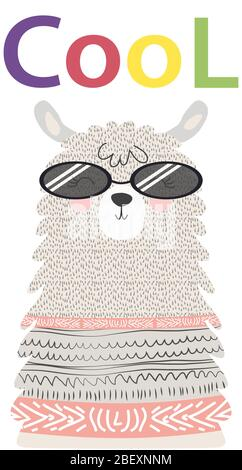 Lama est mignon dans le style scandinave, à la mode, cool, dans des lunettes. Banque D'Images