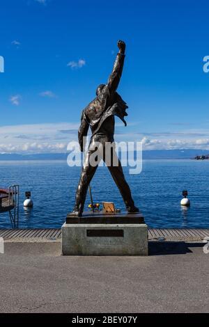 Statue de Freddie Mercury au bord du lac de Montreux, Suisse