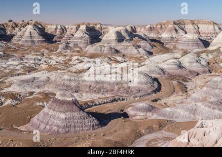 En regardant vers le bas sur la piste Blue Mesa dans le parc national de la forêt pétrifiée. Banque D'Images