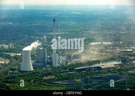 , centrale électrique au charbon de Herne Baukau à chanel Rhein-Herne-Kanal, 11.05.2016, vue aérienne, Allemagne, Rhénanie-du-Nord-Westphalie, région de la Ruhr, Herne Banque D'Images