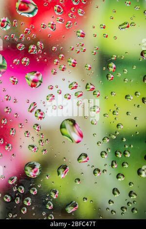 L'eau tombe sur le verre avec un fond coloré Banque D'Images