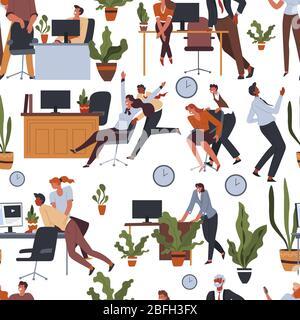 Activités de pause café dans un vecteur de motif de bureau sans couture
