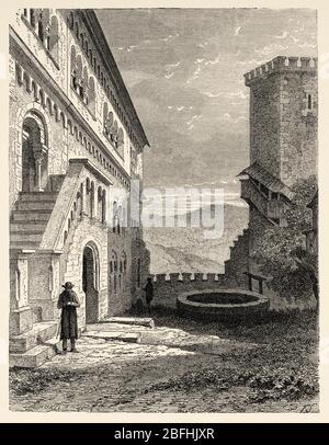 Cité médiévale de Warburg, Rhénanie-du-Nord-Westphalie. Thuringe, Allemagne, Europe. Voyage en Thuringe, Allemagne du Nord 1869 par Arsene Legelle