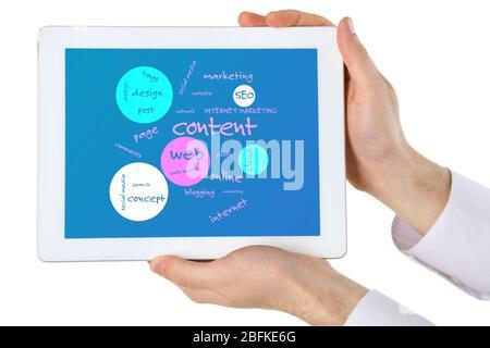 Mots connectés sur tablette-pc à écran tactile, isolés en blanc Banque D'Images