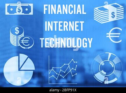 Concept de technologie Internet financière. Graphique et diagramme sur fond flou de bâtiment de ville.