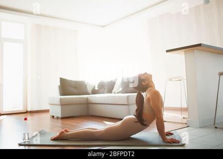 Jeune femme faisant de l'entraînement de yoga dans la salle pendant la quarantaine. Fille faisant face vers le haut posture de chien. Étirez le dos et le haut du corps à la maison sur le tapis. Banque D'Images