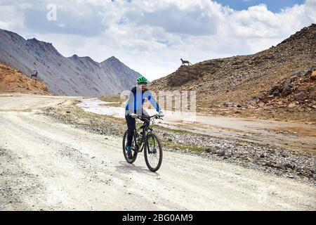Man on mountain bike rides sur la route dans les hautes montagnes contre fond de ciel couvert Banque D'Images