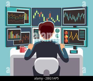 Négociant en bourse regardant plusieurs écrans d'ordinateur avec des graphiques financiers et de marché. Concept vectoriel d'analyse commerciale. Illustration de la finance de courtier et de négociant sur le lieu de travail Banque D'Images