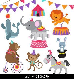 Enfant de cirque montrer les animaux de bande dessinée vecteur ensemble. Le cirque carnaval avec des animaux ours de lion, éléphant et singe illustration