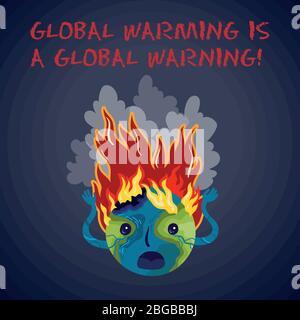 Le réchauffement climatique est un avertissement mondial. Affiche de vecteur écologique. Banque D'Images