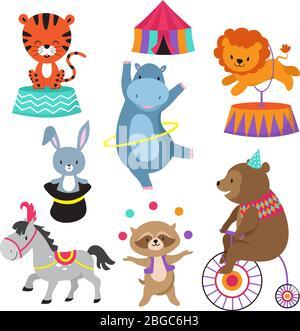 Animaux de cirque de dessin animé pour enfants carte d'anniversaire vecteur. Animal dans le cirque, éléphant heureux et lion, spectacle de carnaval avec ours sur l'illustration de vélo
