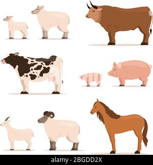 Animaux à la ferme. Agneau, porc, vache et mouton, chèvre. Illustrations vectorielles définies dans un style de dessin animé Banque D'Images