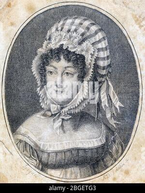 Tête d'une femme portant un capot à rayures, gravure de Saint-Aubin (français, 1736-1807)