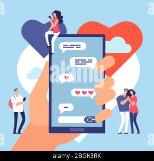 Rencontres en ligne. Communication Internet conviviale. Concept vectoriel d'application de site de datation romantique. Communication en ligne datant, romantique Internet amour illustration