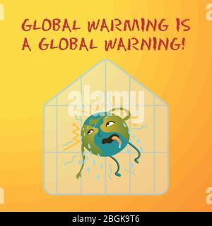Illustration conceptuelle écologique de la planète Terre, qui est chaude et qui transpire, un effet de serre. Le réchauffement climatique est un avertissement mondial. Banque D'Images