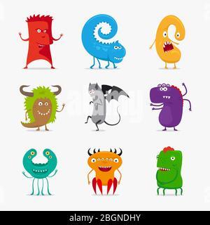 Caricature de jolis monstres vectoriels. Différentes couleurs drôles monstres icônes sur fond blanc. Illustration vectorielle Banque D'Images
